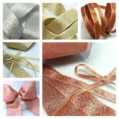 3, 7 15, 25, 40mm BERISFORDS ROSE GOLD SILVER COPPER LAME SPARKLY GLITTER RIBBON