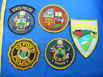 Vintage Oxford Machias Maine State Police Cloth Patch Lot Of 5 -Free Us Shipping