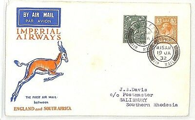 BK93 1932 GB AVIATION FFC *Imperial Airways* Cover S.Africa {samwells}PTS