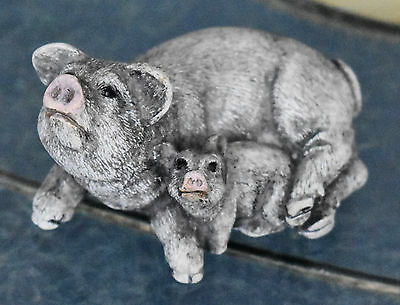 Vintage Pigs Figurine Solid Stone Resin Momma & Baby Piglet