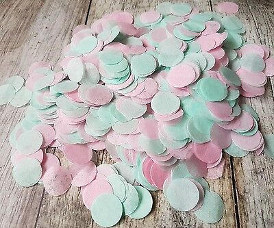 2 Handfuls Mint Green &  Pink Circle Wedding Throwing Confetti.table Decoration