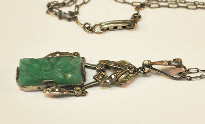 Vintage 1920s Green Jade Two-Piece Sterling Floral Motif Pendant Necklace