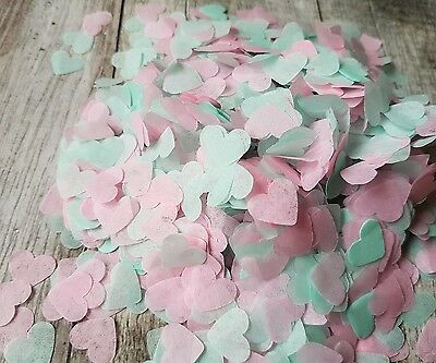 2 Handfuls Mint, Pink Hearts Confetti Wedding Decoration/throwing/eco Summer