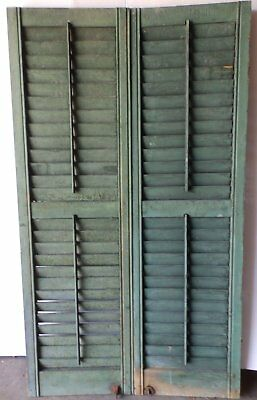 Pair Antique Window Wood Louvered Shutter Shabby Old Chic Vtg 54x15 20-17P