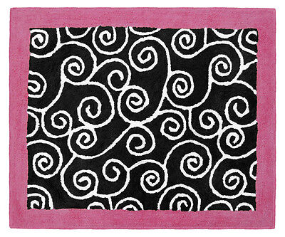 Girl Baby Kids Teen Room Floor Rug for Sweet Jojo Pink Black Madison Bedding Set