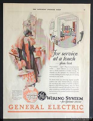 1926 GE General Electric House Wiring System Seaton Art Vintage Print Ad