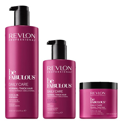 REVLON PROFESSIONAL Be Fabulous Kit Daily Care Normal/Thick Hair Shampoo 1000ml