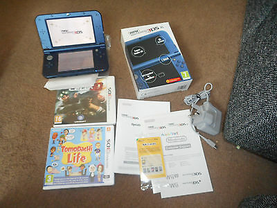 nintendo 3ds xl blue boxed with all instruction charger+2 games tomodachi life+s