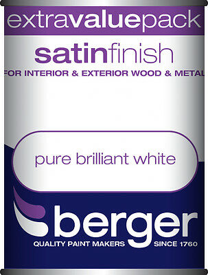 Berger Satin Sheen (Eggshell) 1.25L Pure Brilliant White