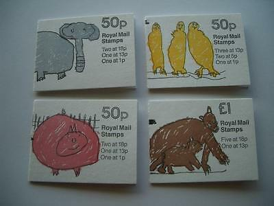 4 Great Britain Royal Mail Stamp Booklets-1980s London Zoo Series-Pig Bird Bear
