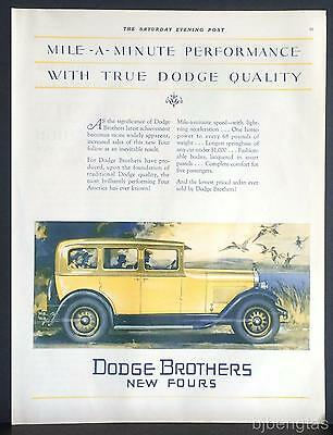 1927 Dodge Brothers New Four Yellow 4-Door Sedan Motor Car Dahlberg Art Print Ad