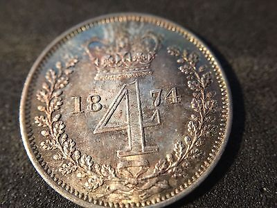 Victoria  (young head)  1874 MAUNDY silver four penny (4d)   extreemly nice...