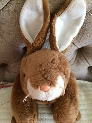 """Ty Beanie Buddies Rabbit, Brown, Pink Nose, 14"""" Long, Great Condition"""