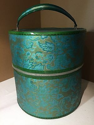 """VTG 13"""" Wig / Hat Box Carrier Travel Suitcase Mid Century Vinyl Turquoise Gold"""