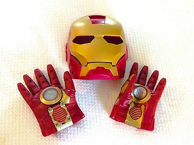 Iron Man Mask & Gloves Child Costume Sound Head Strap Battery Op Hasbro 2008 ;-)