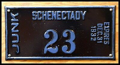 Incredible Rare 1932 Schenectady New York Junk Dealer License Plate