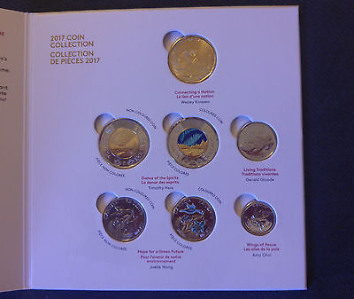 Canada 150 - 2017 Coin Set On Collector Card with Colored Coins