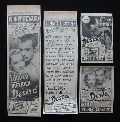DESIRE 1936 Original vintage movie advertising Marlene Dietrich Gary Cooper