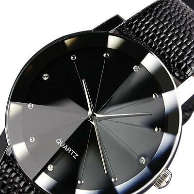 Mens Quartz Sport Military Stainless Steel Dial Leather Band Wrist Watch Black
