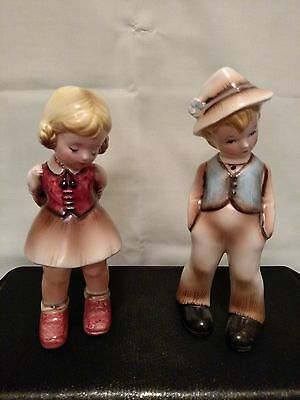 Vintage Inarco Boy Girl Figurines Numbered Cleveland Ohio Japan Pondering Maybe