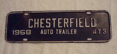 Antique 68 Virginia Auto Trailer License Plate 473 Chesterfield County Expired