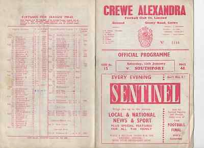 1962-Crewe Alex V Southport-Football League Division 4-Four Programme