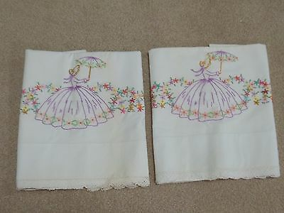 Vintage Embroidered Pillowcases Lace Edge  Southern Belle
