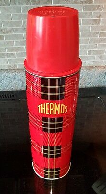 Vintage Thermos red Scottish plaid 1qt vacuum bottle Thermos Division King Seely