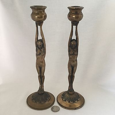 Pair Art Deco Female Nude Brass Candlesticks c.1930's.                     *2818