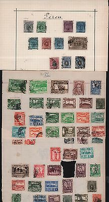 Peru 1921-1970 Miscellanious Set Of 58 Cancelled Old & Varieties