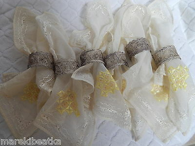 Antique Egyptian 800 Silver   6 Napkins Rings W / Hand Embroidered Silk Napkins