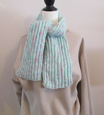 Light Green Multicolor 47 Inch Scarf Childrens Boys Girls Handknit Ribbed Scarf