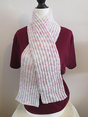 Pastel Multicolor 50 Inch Scarf Childrens Girls Handknit Ribbed Scarf