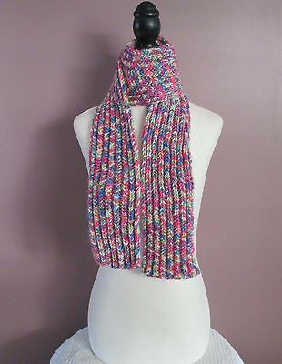 Bright Colorful Scarf 51 Inch Childrens Boys Girls Knitted Ribbed Scarf