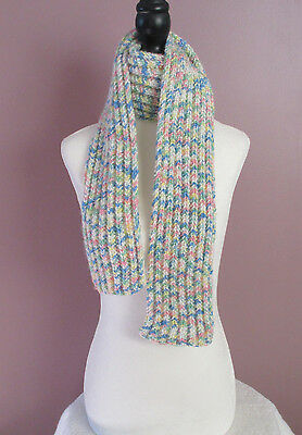 51 Inch Multicolor HandKnit Scarf Childrens Boys Girls Acrylic Ribbed Scarf