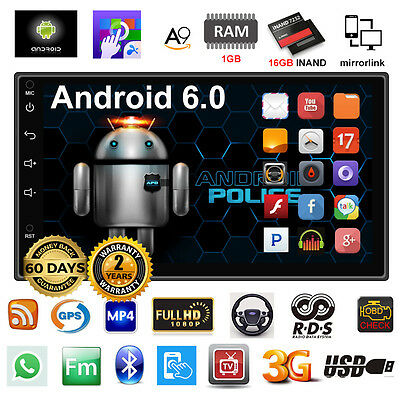 """Quad Core Android 6 3G WIFI 7"""" Double 2DIN car Radio stereo MP5 player GPS Nav a"""