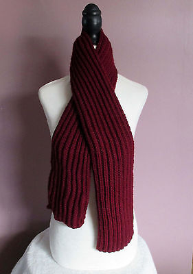 52 Inch Burgundy Handknit Ribbed Scarf Childrens Boys Girls Neck Warmer