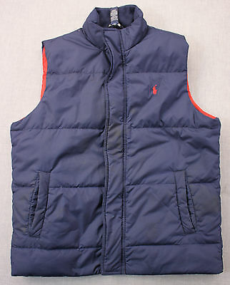 RALPH LAUREN Polo Boys Navy Blue Down Feather Red Pony Vest Pre-Owned  L  16-18