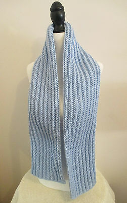 56 Inch Light Blue Handknit Ribbed Scarf HandMade in Canada