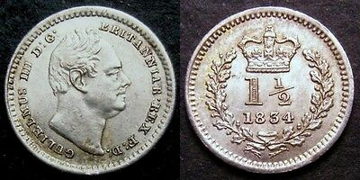 1834 William IV Threehalfpence S. 3839 ESC 2250 slabbed and graded CGS 65 (GEF)