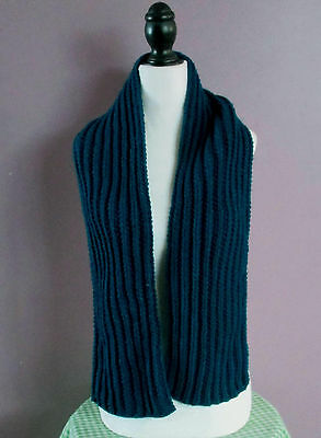Scarf Hand Knit 57 Inch Dark Teal-Peacock Blue Ribbed Hand Made In Canada