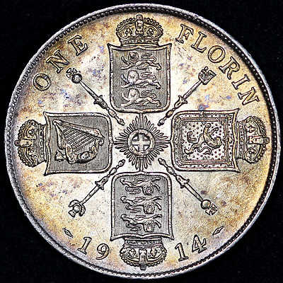 1914 High Grade Toned George V Silver Florin
