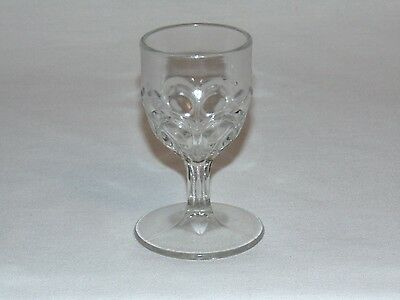 ANTIQUE EARLY AMERICAN PRESSED GLASS LIQUOR WINE CORDIAL GOBLET BULLS EYE eapg