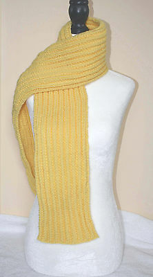 Scarf Hand Knit Yellow Ribbed 60 Inch Neck Warmer Hand Made In Canada