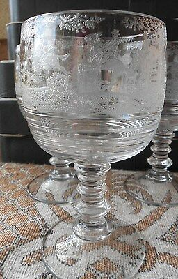 ONE (1) Cambridge Imperial Fox Hunt Scene Tally Ho E-178 Goblet Glass Chalice