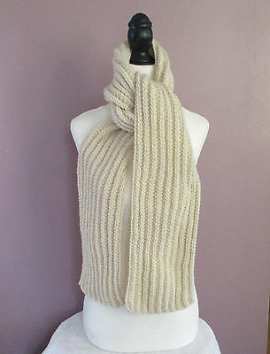 68 inch Scarf Handknit Ribbed Cream/Aran Color
