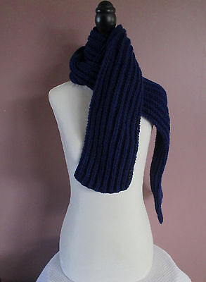 Navy Blue 68 inch Handknit Ribbed Scarf