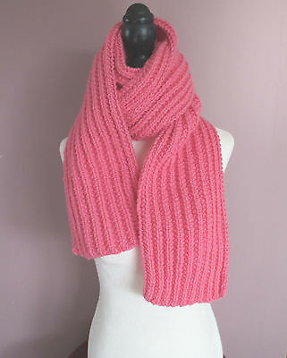 72 Inch Pink Knitted Ribbed Scarf
