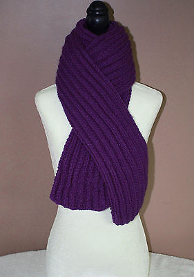 Knit Scarf Handmade Ribbed 72 Inch Violet Purple Neck Warmer