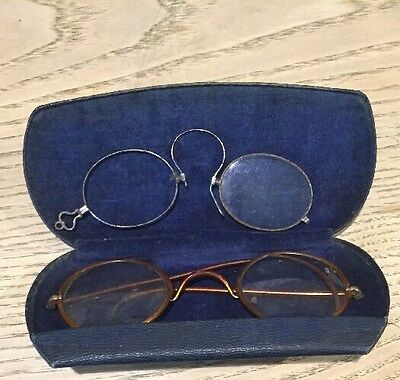 Lot of 2 Antique Vintage Eyeglasses Spectacles With Case